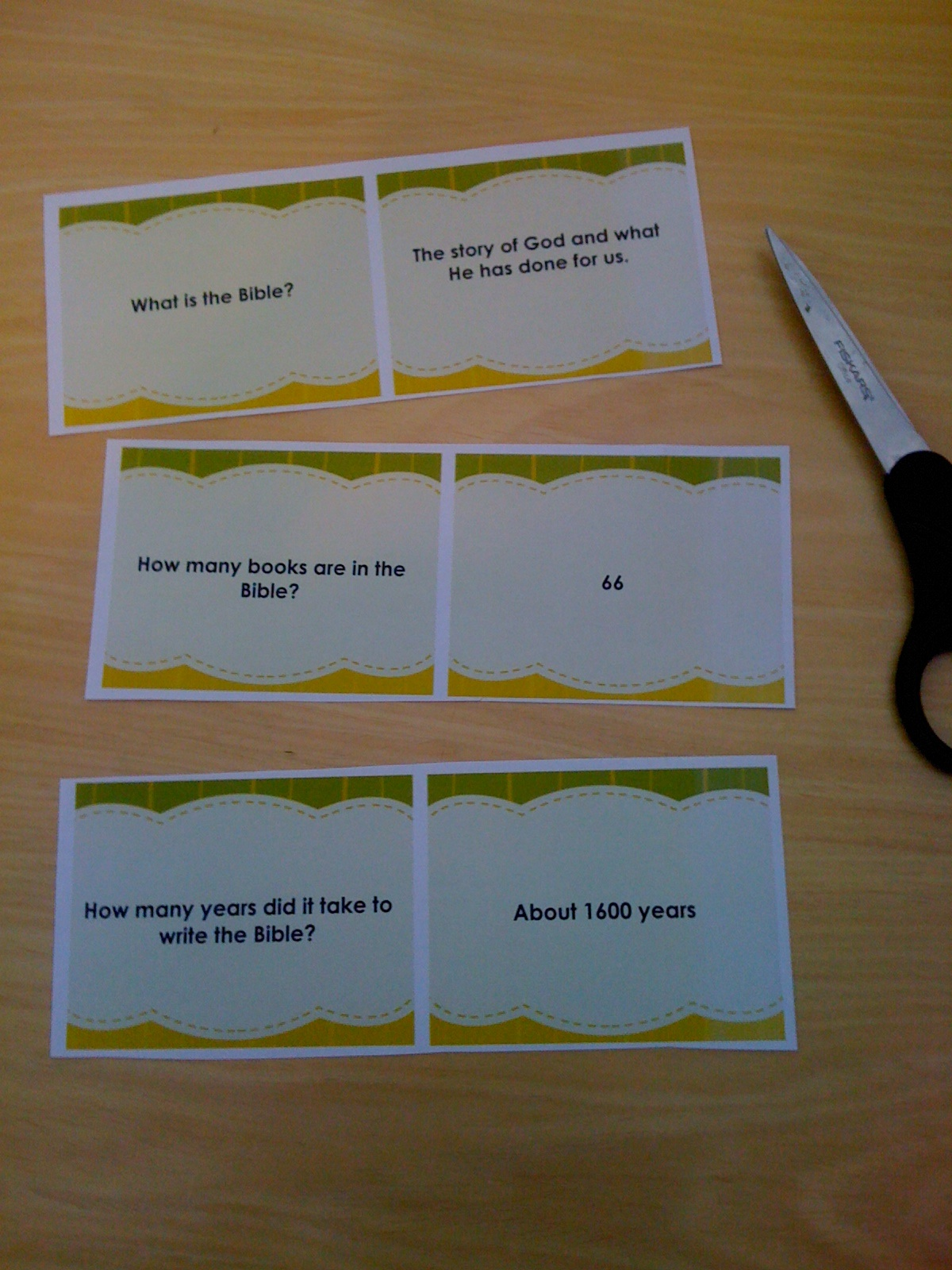 Bible Flashcard Instructions Step 1