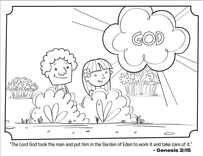 Adam and Eve Bible Coloring Page